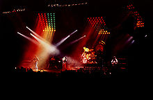 Queen during a live concert in Norway in 1982