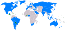 A map of the world showing 23 highlighted countries. Only a few small countries recognize the ROC, mainly in Central, South America and Africa.