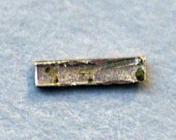 Radium electroplated on copper foil and covered with polyurethane to prevent reaction with air