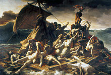 Painting of a raft surrounded by huge ocean waves with people crying for help, suffering and dying.