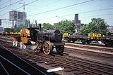 """Replica van de """"Marc Seguin"""", de eerste locomotief met vlampijpen (1829). De luchttoevoer werd geregeld door blaasmechanisme in plaats van de stoomzuigkracht in de schoorsteen."""