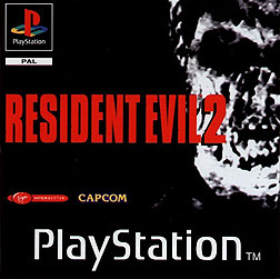 A monochrome image of a decaying zombie face, placed in the upper right corner of the box art and superimposed over a black background. The game's title is written in red capital letters of the sans-serif font Haettenschweiler.