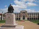 Rice University - Rice statue with Lovett Hall.JPG