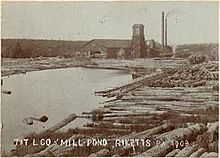 "Sepia-tone photo of a pond surrounded by large logs. At the far end of the pond is a large building with a square tower and two smokestacks. Label is ""T&T L CO MILL POND RICKETTS PA 1903"" (i.e. Trexler and Turrell Lumber Company Mill Pond ...)"