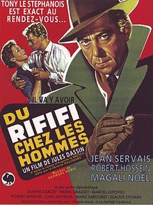 """Movie poster illustrates Tony le Stephanois wearing a green jacket over a red background. In the background Jo le Suédois attempts to pull a telephone away from his wife. Text at the top of the image includes the tagline """"Tony le Stephanois et exact au rendez-vous"""". Text at the bottom of the poster reveals the original title and production credits."""