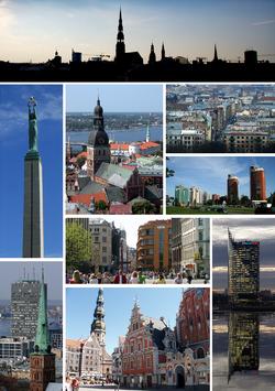A mosaic of several views of Riga