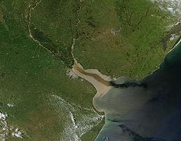 Vista de satélite del Río de la Plata