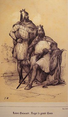 Gravure représentant les deux frères portant un casque couronné: Robert est debout regardant au loin sur sa gauche, main droite à la taille, main gauche appuyée sur le pommeau de l'épée reposant verticalement devant lui. Roger Guiscard est assis à sa gauche, sur un muret qui supporte un gros cordage relié à une poulie posée au sol. Comme son frère, il est muni d'une épée et d'une ample cape. La scène est posée près d'un port ou d'un fleuve car on discerne à l'arrière-plan la silhouette de trois navires.
