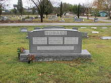 Howard family gravestone with the names of Robert E. (Author and Poet; 1906-1936), Hester Ervin (Wife and Mother; 1870-1936) and Isaac M. (Physician; 1871-1944)