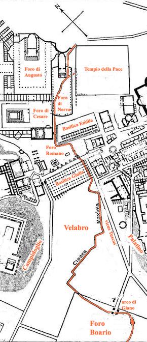 Tracé de la Cloaca Maxima sous le Forum Romanum, le Vélabre et le Forum Boarium, du temps de l'Empire