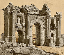Roman Arch of Trajan at Thamugadi (Timgad), Algeria 04966r.jpg