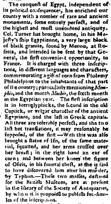 """""""Image of a contemporary newspaper report from 1801 of approximately three column inches describing the arrival of the Rosetta Stone in England"""""""
