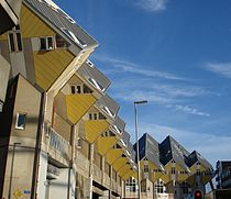Rotterdamse kubuswoningen gezien vanaf de Binnenrotte