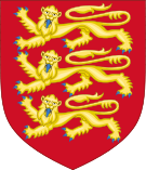 A red shield tapers to its bottom end; on it are three stylised golden lions with blue claws.