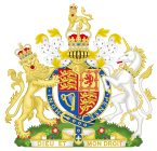 Coat of arms containing shield and crown in centre, flanked by lion and unicorn