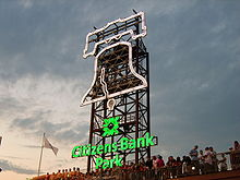 "A tower faced with an illuminated outline of the Liberty Bell and the words ""Citizens Bank Park."