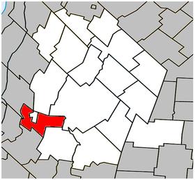 Localisation de la municipalité de paroisse dans la MRC de Les Maskoutains