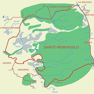 Carte de Sainte-Menehould présentant le réseau hydrographique