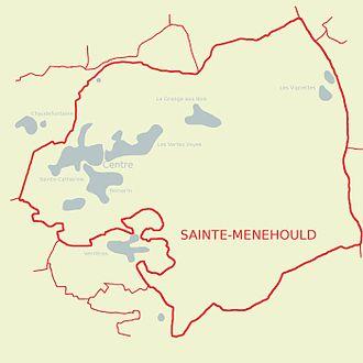 Carte de Sainte-Menehould présentant les différents quartiers