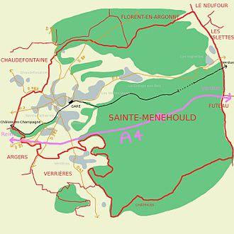 Carte de Sainte-Menehould présentant les différentes voies de communication