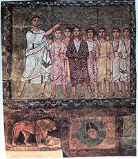 Samuel anoints David, Dura Europos, Syria, Date: 3rd c. CE.