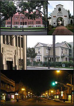 De haut en bas et de gauche à droite: Old Orange County Courthouse, Musée Bowers, Ancien Hôtel de Ville, Minter House et la Rue Braodway.