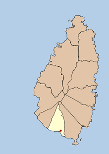 Red dot points out location in the middle of the south coast of the island.