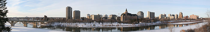 Skyline de Saskatoon en invierno