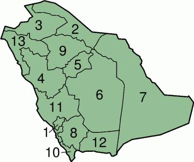 die Provinzen Saudi-Arabiens