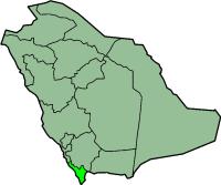 Carte de l'Arabie saoudite mettant en évidence la province de Jizan.