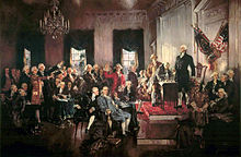 Painting of men in a formal political meeting.