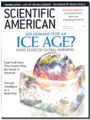 "A magazine cover depicting a photorealistic view of the Earth, inserted into a melted ice cube, with the magazines masthead at top and a headline between the masthead and the Earth reading ""Did Humans Stop an ICE AGE?""  Beneath the headline in smaller type is the subheading ""8,000 years of global warming"""