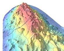 Bathymetric showing part of Davidson Seamount. The dots indicate significant coral nurseries.