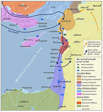 A map of the major battles of the Second Crusade in the Levant, located in the eastern Mediterranean. The major conflict locations and the routes of the Second Crusade are marked. To the north are the Byzantine Empire and the Armenian Cilicia. The Seljuq Turks are located across the east side of the map. To the left of the Seljuqs are, from north to south, the County of Edessa, the Principality of Antioch, the County of Tripoli, and the Kingdom of Jerusalem. To the south are the Fatimids, mainly located in the Sinai Peninsula and modern-day Egypt.
