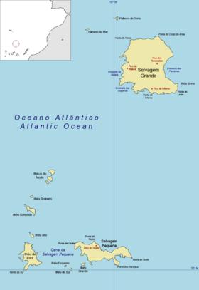 Mapa de las islas Salvajes