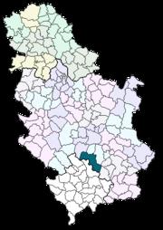 Locatie van de gemeente Kuršumlija in Servië