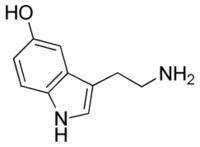 Molecuulstructuur van de neurotransmitter serotonine