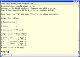 Une session MySQL dans une Konsole de KDE.
