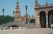 La Plaza de España, en Sevilla (España), sirvió como escenario para representar el planeta Naboo.