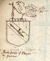 Drawing of a coat of arms with a falcon and a spear.