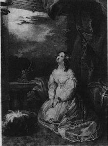 Gravure en noir et blanc montrant une jeune femme agenouillée au sol qui, les mains jointes, regarde vers le ciel. Elle porte une robe blanche et a des bouclettes brunes. Elle semble se trouver sur un balcon, avec des nuages à l'arrière-plan.