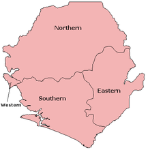 A clickable map of Sierra Leone exhibiting its three provinces and Western Area.