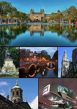 Van boven naar beneden en van links naar rechts: het Rijksmuseum, een standbeeld in het Vondelpark, de Keizersgracht, de Zuiderkerk, het paleis op de Dam en het ING House