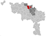 Situation de la commune dans l'arrondissement de Soignies et dans la province de Hainaut