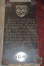 Sir Thomas More family's vault
