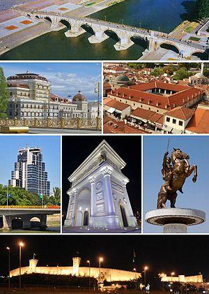 De haut en bas, de gauche à droite: le pont turc, le Théâtre national, le Souli An, le MRT Center, la Porte de Macédoine, la statue du guerrier à cheval et la forteresse