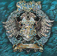 """An elaborate design on a record album cover. In the center is the profile two dragon heads, back to back, with feathers splaying out on either side, and  a bar below like that of a military medal. """"Skyclad"""" is printed in elaborate lettering at the top."""