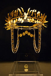 Thracian golden wreath exhibited in the National Historical Museum