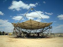 Large solar dish scaffolding at Ben-Gurion National Solar Energy Center.