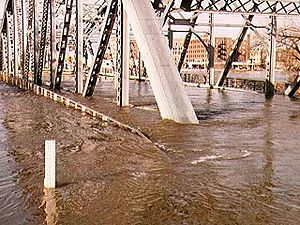 The Sorlie Bridge connecting Grand Forks and East Grand Forks became submerged on April 17